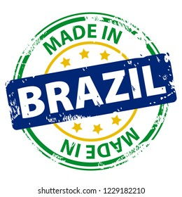 Made in the Brazil rubber stamp icon isolated on white background. Manufactured or Produced in Federative Republic of Brazil. Vector illustration