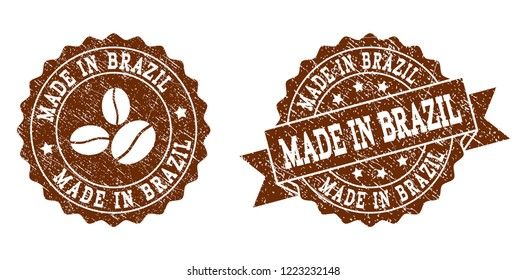 Made in Brazil rubber stamps. Vector seals in chocolate color with round, ribbon, rosette, coffee bean elements. Grainy design and corroded texture are used for Made in Brazil rubber imprints.
