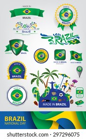 Made in Brazil Seal, Brazilian Flag, Carnival (Vector Art)