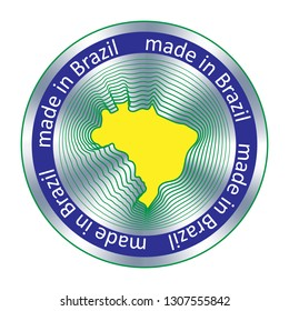 Made in Brazil seal or stamp. Round hologram sign for label design and national marketing.
