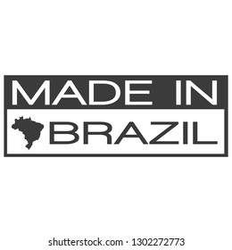 Made In Brazil. Stamp Rectagle Map. Logo Icon Symbol. Design Certificated.