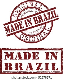 made in brazil stamp with red ink