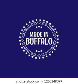 made in Buffalo emblem, label, badge,seal. vintage stamp.package label. vector illustration