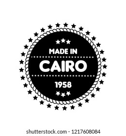 made in CAIRO emblem, label, badge. vintage stamp.package label. vector illustration