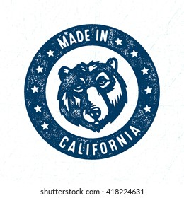 Made in California Stamp Design. Distressed Textured Effect. Retro Vintage Vector Illustration. Grizzly Bear Muzzle.