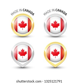 Made in Canada - Guarantee label with the Canadian flag inside round gold and silver icons.