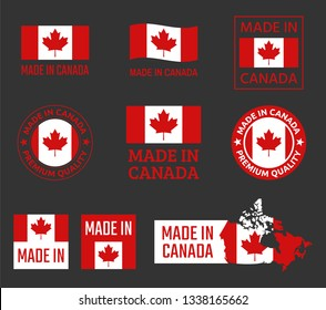 made in Canada icon set, Canadian product labels