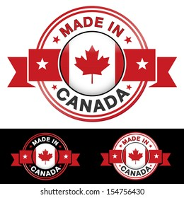 Made in Canada label and icon with ribbon and central glossy Canadian flag symbol. Vector EPS10 illustration with three different badge colors isolated on white and black background.