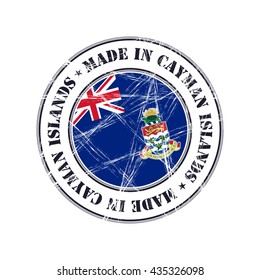 Made in Cayman Islands grunge rubber stamp with flag