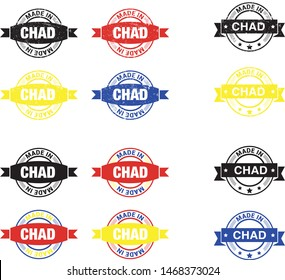 Made in Chad collection of ribbon, label, stickers, badge, icon and page curl with Chad  flag symbol. Vector illustration isolated on white background.  Stamp with Made in Chad  text.