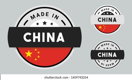 Made in China collection of ribbon, label, stickers, badge, icon and page curl with China flag symbol.