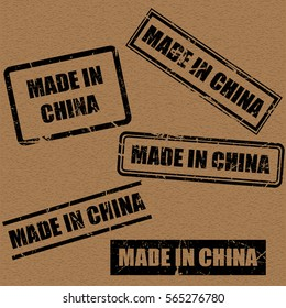 made in China text rubber seal stamp watermark. Caption inside rounded rectangular banner with grunge design and dirty texture. Slanted vector ink sticker on paper background.