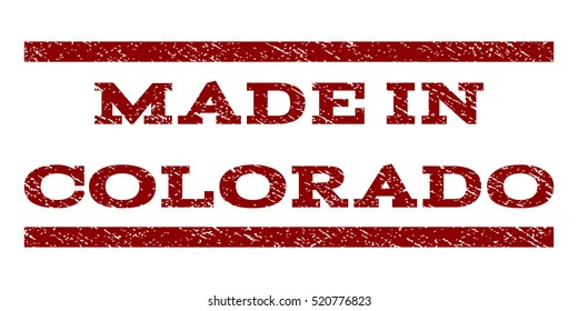 Made In Colorado Watermark Stamp Text Tag Between Horizontal Parallel Lines With Grunge Design Style