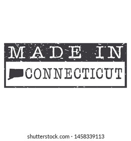 Made In Connecticut. Stamp Rectagle Map. Logo Icon Symbol. Design Certificated.