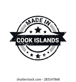 Made in Cook Islands - Round black grunge rubber stamp design isolated on white background. vector illustration vintage texture. Vector illustration