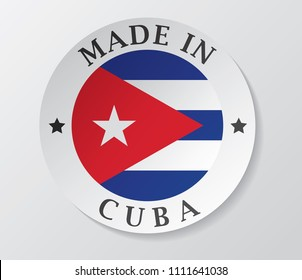 Made in cuba badge with cuban flag