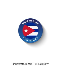 Made in Cuba badge with Cuba flag. Badge  with long shadow. Vector illustration.
