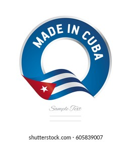 Made in Cuba flag blue color label logo icon