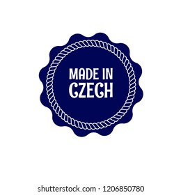 made in czech badge. vintage stamp.package label