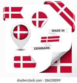 Made in Denmark collection of ribbon, label, stickers, pointer, badge, icon and page curl with Danish flag symbol on design element. Vector EPS 10 illustration isolated on white background.