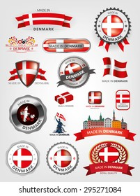 Made in Denmark Seal Collection, Danish Flag background, red, Copenhagen (Vector Art)