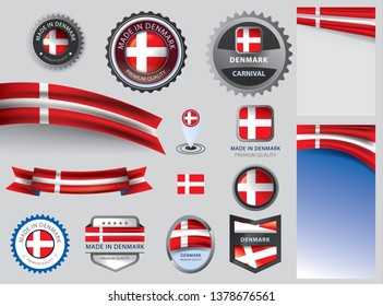 Made in Denmark seal, Danish flag and color --Vector Art--