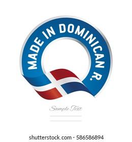 Made in Dominican Republic flag blue color label logo icon