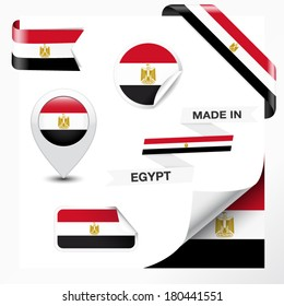 Made in Egypt collection of ribbon, label, stickers, pointer, badge, icon and page curl with Egyptian flag symbol on design element. Vector EPS 10 illustration isolated on white background.
