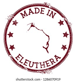 Made in Eleuthera stamp. Grunge rubber stamp with Made in Eleuthera text and island map. Ideal vector illustration.