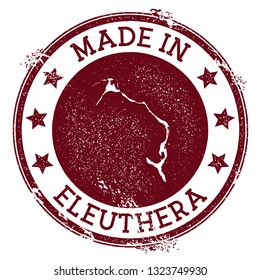 Made in Eleuthera stamp. Grunge rubber stamp with Made in text and island map. Great vector illustration.