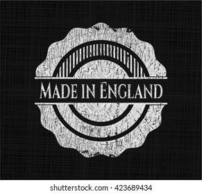Made in England chalkboard emblem written on a blackboard