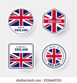 Made in England flag label sticker badge collection vector illustration.