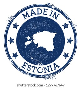 Made in Estonia stamp. Grunge rubber stamp with Made in Estonia text and country map. Rare vector illustration.