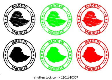 Made in Ethiopia - rubber stamp - vector, Ethiopia map pattern - black, green and red