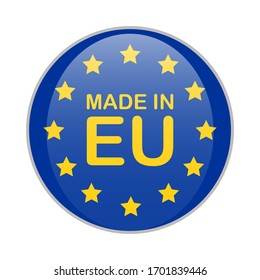 MADE IN EU blue round badge with yellow text and stars. Europe product sign vector illustration isolated on white background.