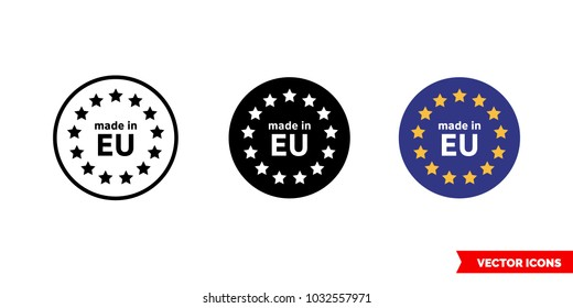 Made in EU icon of 3 types: color, black and white, outline. Isolated vector sign symbol.