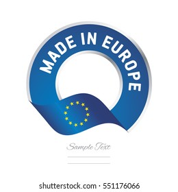 Made in Europe flag blue color label button banner
