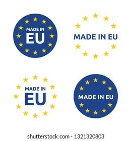 made in Europe icon set, European Union product labels