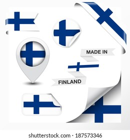 Made in Finland collection of ribbon, label, stickers, pointer, badge, icon and page curl with Finnish flag symbol on design element. Vector EPS 10 illustration isolated on white background.