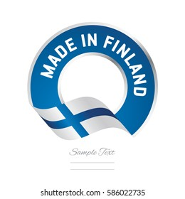 Made in Finland flag blue color label logo icon