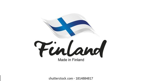 Made in Finland handwritten flag ribbon typography lettering logo label banner