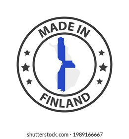 Made in Finland icon. Stamp made in with country map