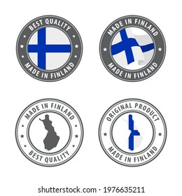Made in Finland - set of labels, stamps, badges, with the Finland map and flag. Best quality. Original product. Vector illustration