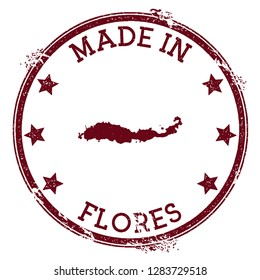 Made in Flores stamp. Grunge rubber stamp with Made in Flores text and island map. Incredible vector illustration.