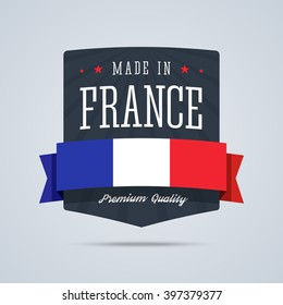 Made in France badge with ribbon and flag. Vector illustration in flat style.