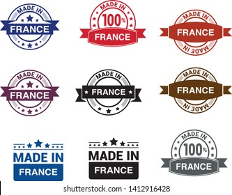 Made in France collection of ribbon, label, stickers, badge, icon and page curl with French flag symbol. Vector illustration isolated on white background. Grunge rubber stamp with Made in France text.