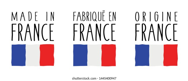 Made in France, Fabriqué en France, Origine France:  3 labels of