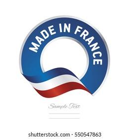 Made in France flag blue color label button banner