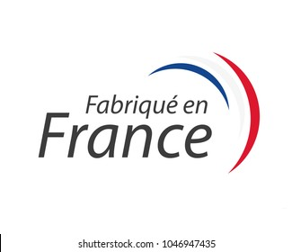 Made in France, in the French language – Fabrique en France, simple vector symbol with French tricolor isolated on white background