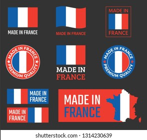 made in France icon set, French product labels